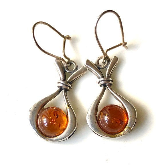 Amber and 925 Silver Drop Earrings